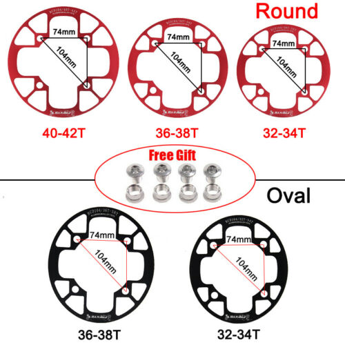 32-38t 104BCD Narrow Wide Chainring MTB Bike Round Oval Chainwheel Chain Guard