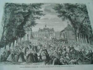 Gravure 1863 - Visite De L'empereur Au Haras Du Pin Grille Du Chateau Des Performances InéGales