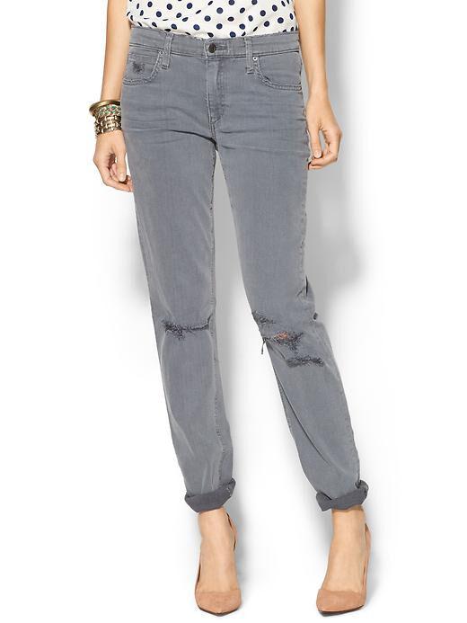 NWT Joe's Jeans Sooo Soft Boyfriend Slim Carey Grey Distressed  – 25