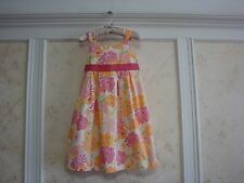 NWT JANIE AND JACK SUMMER BOARDWALK GIRLS FLORAL PLEATED DRESS 5 5T PINK/ORANGE