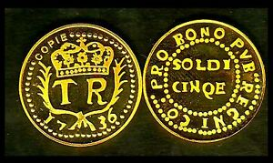 CORSE-RARE-COPIE-PLAQUee-OR-DE-LA-5-SOLDI-1736-DE-NEUHOF-LEG-PVB-REGNI
