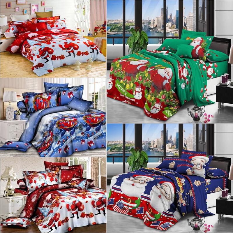 3D Christmas Bedding Sets Duvet Cover bed Sheet Pillow Case 4 pieces Santa Gift