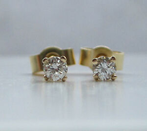 1 10 carat earrings new 1 10 tenth of a carat 10ct 9ct yellow gold 4423