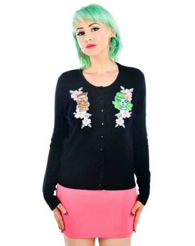 Pin amp; Girl Hibiscus Zombie Up Black Tiki Embroidered Fast God Cardigan Too OHnXwq6R6
