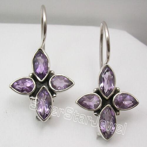 "925 Solid Sterling Silver Facetted AMETHYST 4 Drop Stone PIERCED Earrings 1 1//8/"""