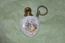 Antique Edwardian porcelain heart shaped perfume/scent bottle chatelaine.