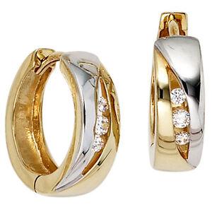 Damen-Creolen-rund-333-Gold-Gelbgold-bicolor-6-Zirkonia-Ohrringe-Goldcreolen