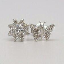 Womens Diamond Cluster Flower & Butterfly Stud Earrings 14K White Gold
