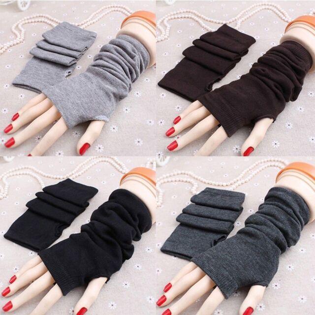 Women Winter Women Knitted Wool Soft Unisex Warm Mitten Long Gloves Fingerless