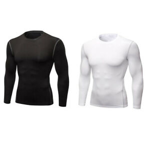 Men Sport Fitness Athletic Quick Dry Elastic T-shirt Gym Long Sleeve Clothing