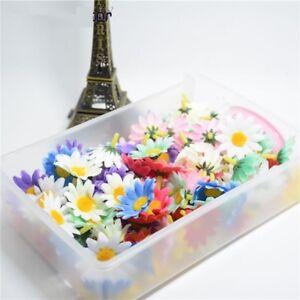 50pcs-Small-Silk-Sunflower-Handmake-Artificial-Flower-Head-Wedding-Wreath-Gift