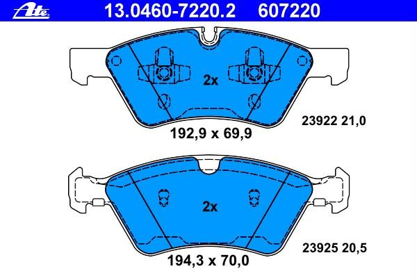 u.a für Toyota ATEZubehörsatz Scheibenbremsbelag Hinten 13.0460-0136.2