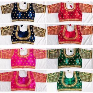 Saree-Readymade-Blouse-New-Designer-Sari-Choli-Indian-Party-Wear-Bollywood-Dress