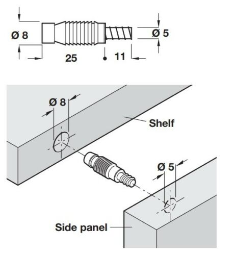 Permanent Assembly Dowel For Ø 8//5 mm Holes Length 36mm