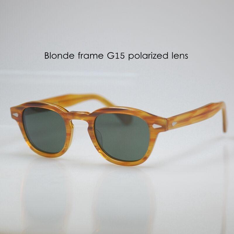 Retro Vintage polarized sunglasses mens Johnny Depp eyeglasses Blonde G15 lens