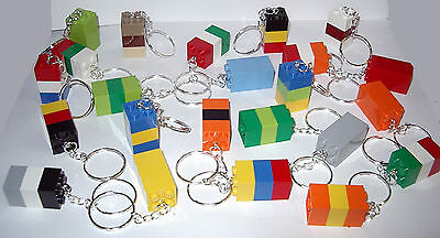 30 LEGO THREE BRICK BLOCK 2X2 SILVER KEY RING CHAIN KEYRING KEYCHAIN PARTY FAVOR