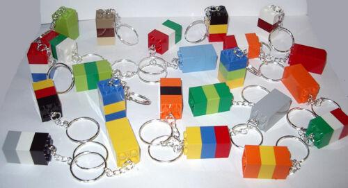 10 LEGO THREE BRICK BLOCK 2X2 SILVER KEY RING CHAIN KEYRING KEYCHAIN PARTY FAVOR