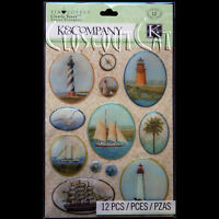 K & Company Tim Coffey Travel Map Lighthouses Ships Clearly Yours Epoxy Stickers