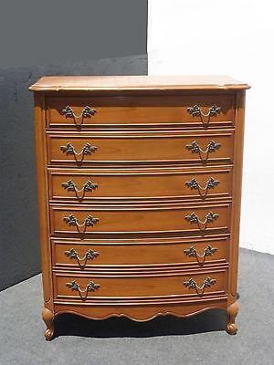 Vintage French Provincial Tall Boy Dresser W Brass
