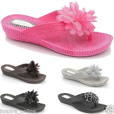 Sandalias De Mujer Damas Verano Playa Flip Flop Jalea Zapatos Puntera Abierta Post Talla 3-8