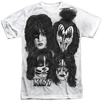 Kiss Rock Band Heads Sub 1-sided Sublimated Big Print Poly T-shirt