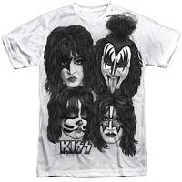 Kiss Rock Band Heads Sub 1-sided Sublimated Big Print Poly T-shirt