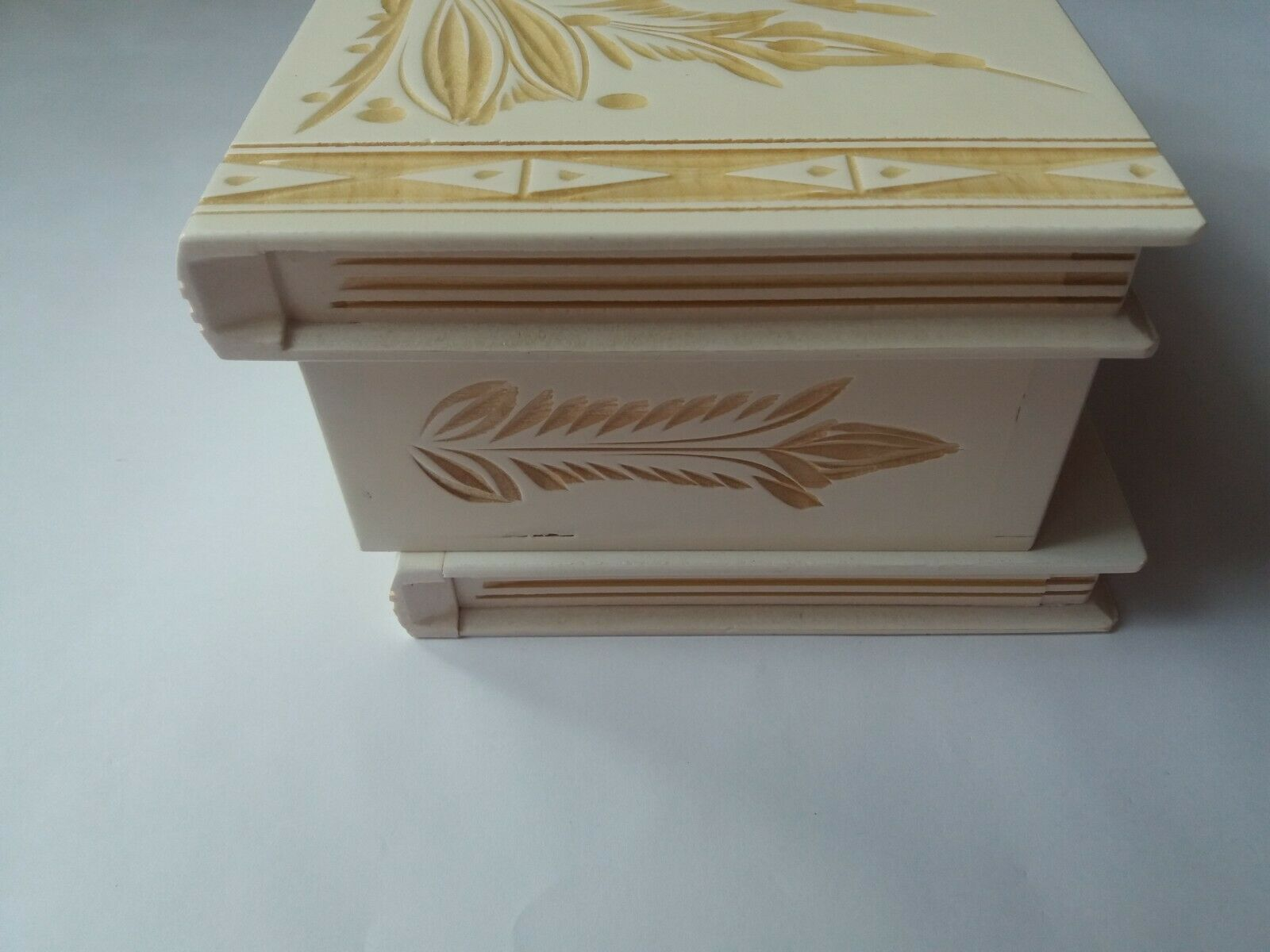 Big huge huge huge Weiß wooden puzzle box with secret opening storage for jewelry Gold 45a495
