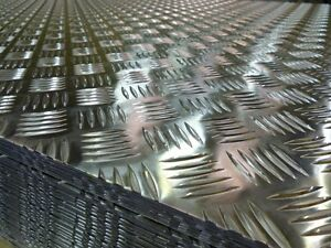 ALUMINIUM 5 BAR CHEQUERTREAD PLATE 2mm THICK  1250mm X 500mm OR CUT TO SUIT - Birmingham, West Midlands, United Kingdom - ALUMINIUM 5 BAR CHEQUERTREAD PLATE 2mm THICK  1250mm X 500mm OR CUT TO SUIT - Birmingham, West Midlands, United Kingdom