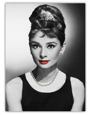 Canvas Audrey Hepburn Picture Wall  Art Decor Print With Real Faux Jewellery 1