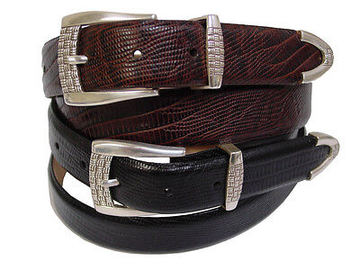 "Adam Genuine Italian Calfskin Leather Dress Belt 1-1//8/"" Wide With Silver Buckle"