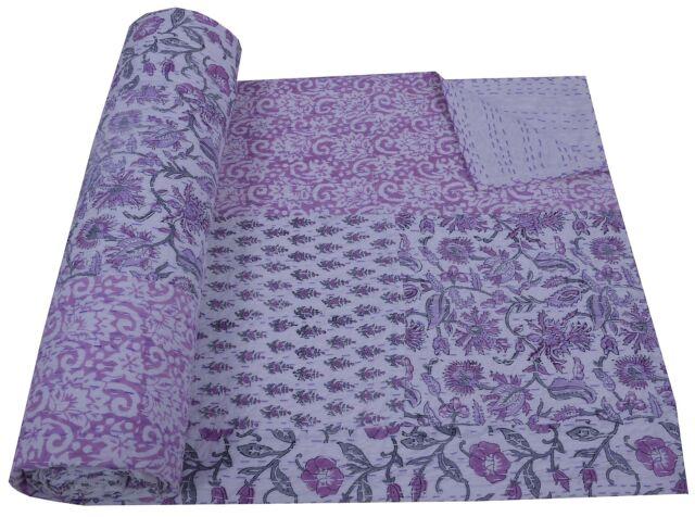 Ethnic Indian Kantha Quilt Block Print Bedspread Ralli Gudari Patchwork Throw