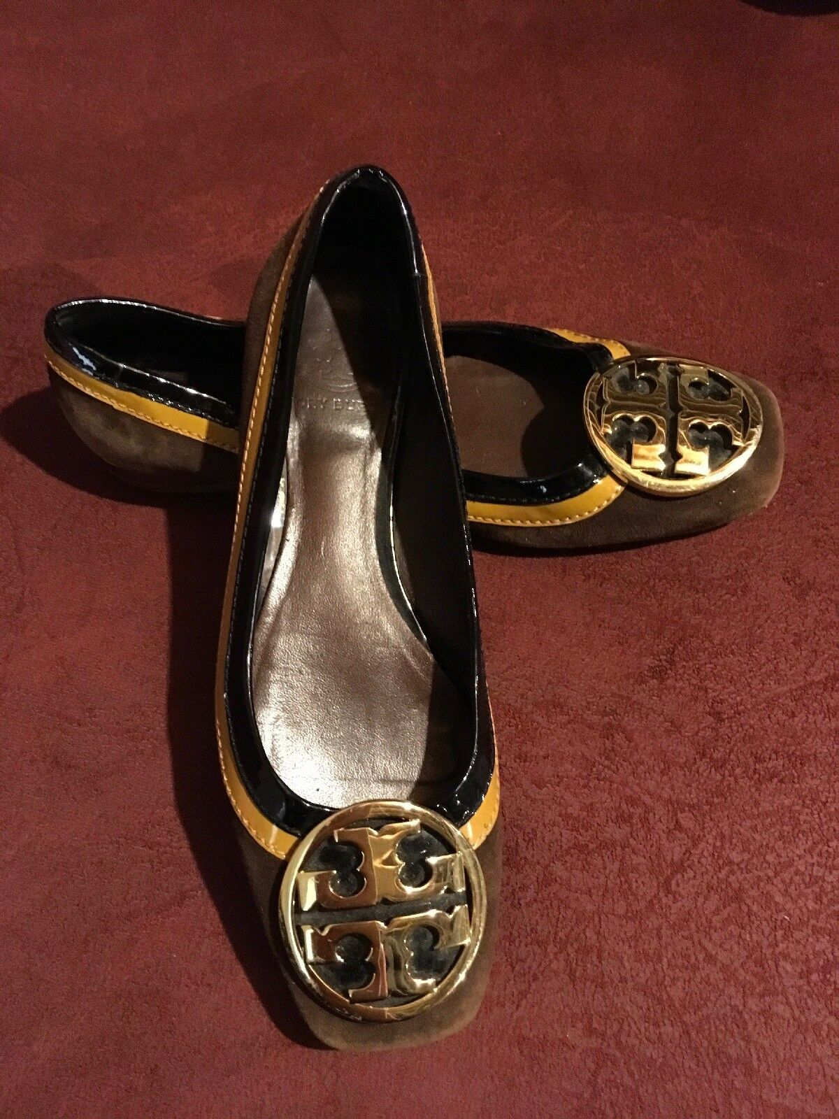 TORY BURCH    Suede Patent Leather Ballet Flats Size 6.5M Authentic 47b47b