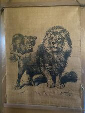 LIONESS AND CUBS NEW YORK CENTRAL PARK ZOO CAGE LION ANTIQUE 1877 ENGRAVING