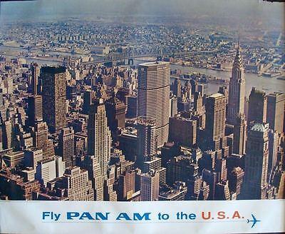 In Pfanne Am Airlines Usa New York Vintage 1965 Reise Plakat 34.5x44 Sehr Selten Exquisite Workmanship
