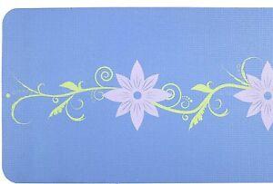 Yoga-Mat-by-Serene-Focus-Blue-Dual-Color-Floral-Design-Alignment-amp-Focus