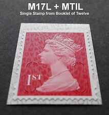 NEW MAY 2017 1st Class M17L + MTIL MACHIN SINGLE STAMP from Booklet