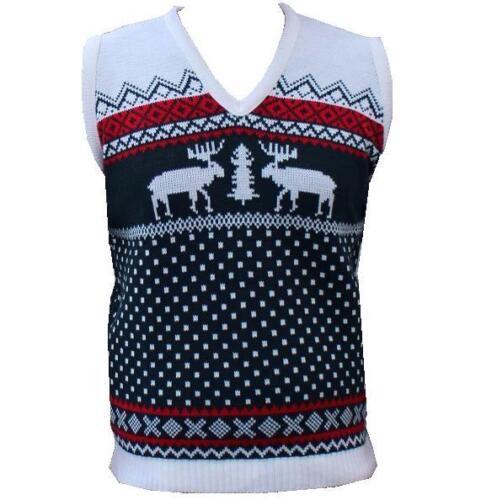 Mens Ladies Jumper Sweater Sleeveless Vest Tank-Top Christmas Reindeer Tanktop