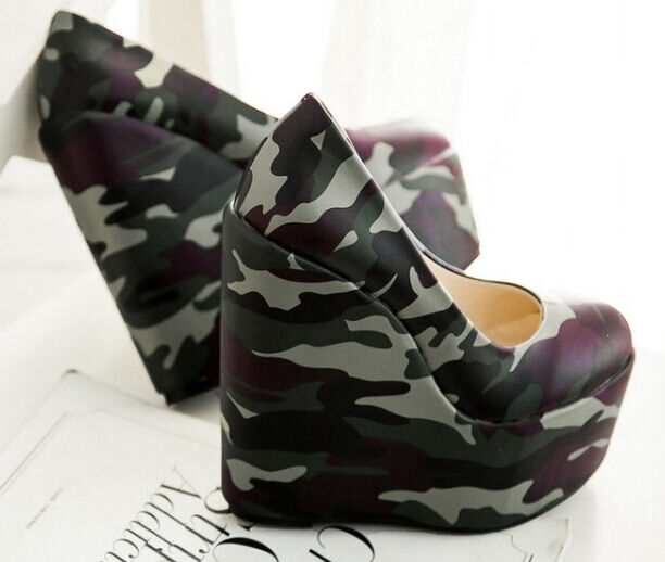 Decolletage women's shoes military green wedge heel 21 cm 15 plateau 5 8458