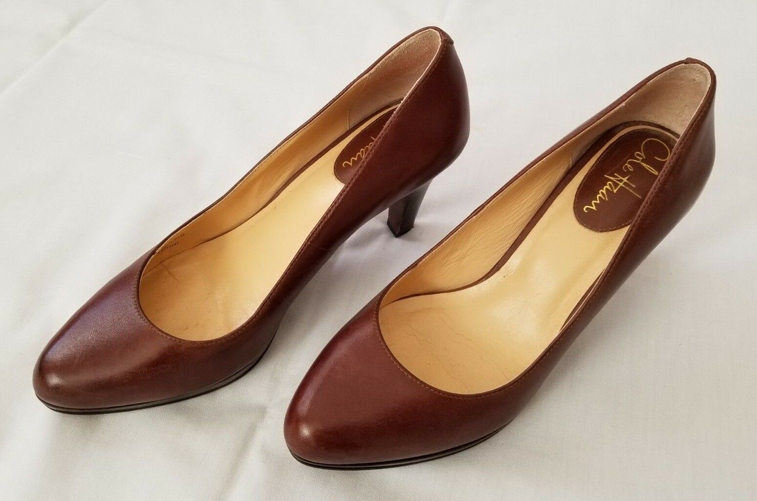 Womens size 7.5B Brown Cole Haan Leather Heels Pumps D32969 preowned