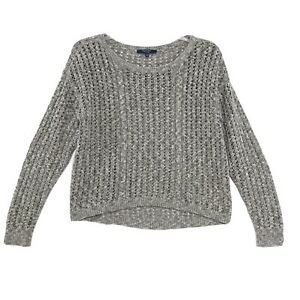 Peter-Som-Open-Knit-Cropped-Pullover-Sweater-Top-Sz-L-Gray-Tan-Long-Sleeve-Hi-Lo