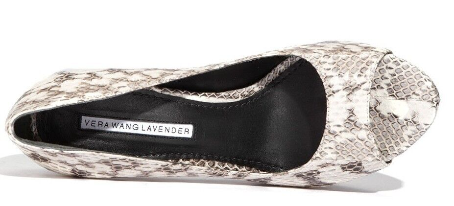 Vera Wang Lavender SELIMA Peep Toe Pump 9 Platform Heel Beige/Python 9 Pump New 275 9b5745