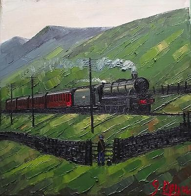 Watching the Express : Original BEST Oil Painting Famous Artist James Downie