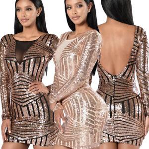 Mini abito elegante donna paillettes vestito da sera manica lunga ... 7d2e0ba0897
