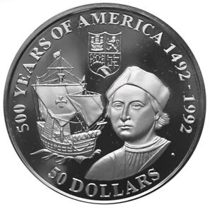COOK-ISLANDS-50-Dollars-1990-Silver-Proof-Discovery-of-America-Columbus-amp-Ship