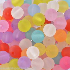 200-Mix-Rund-Matt-Acryl-Perlen-Beads-Kugeln-Armband-Basteln-10mm