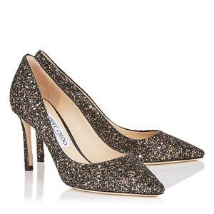 0e0b7e4a563 NIB NEW Jimmy Choo Romy 100 pumps glitter black gold silver 36.5 37 ...