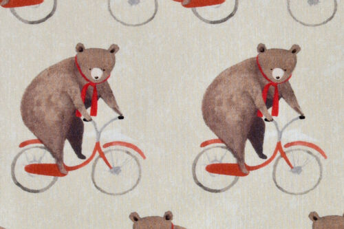 Cute Bears on Bicycles Fabric Quality Fabric for Cushions /& Crafts