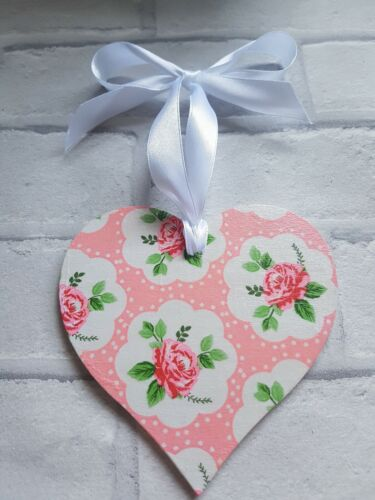 Shabby Chic Pink Floral Large Heart 12cm