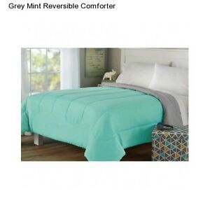 Mint Green Bed Sheets New Mint Grey Twin / Twin XL Size Comforter Reversible ...