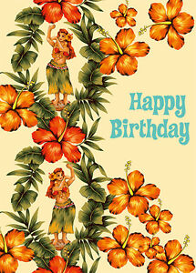 4 greeting cards hawaiian happy birthday hibiscus hula ebay image is loading 4 greeting cards hawaiian happy birthday hibiscus amp m4hsunfo